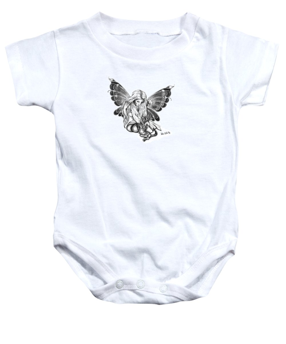 Cat Fairy Baby Onesie featuring the drawing Cat Fairy by Peter Piatt