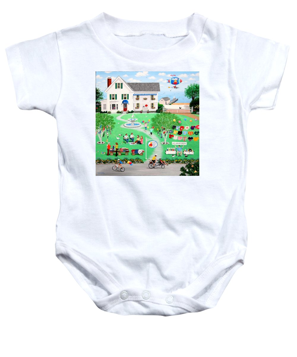 Landscape Baby Onesie featuring the painting Cat Lovers Special by Wilfrido Limvalencia