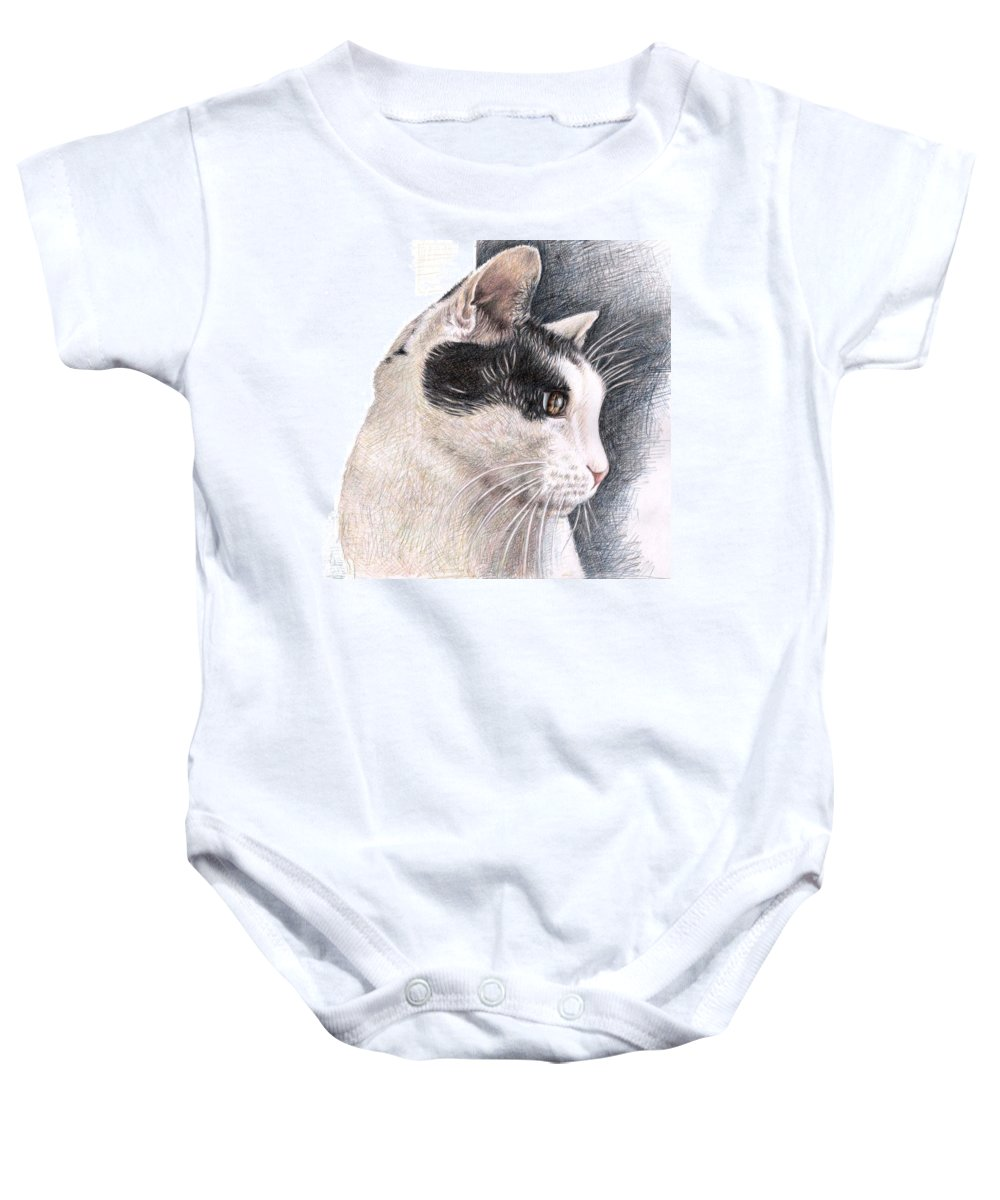 Cat Baby Onesie featuring the drawing Cats View by Nicole Zeug
