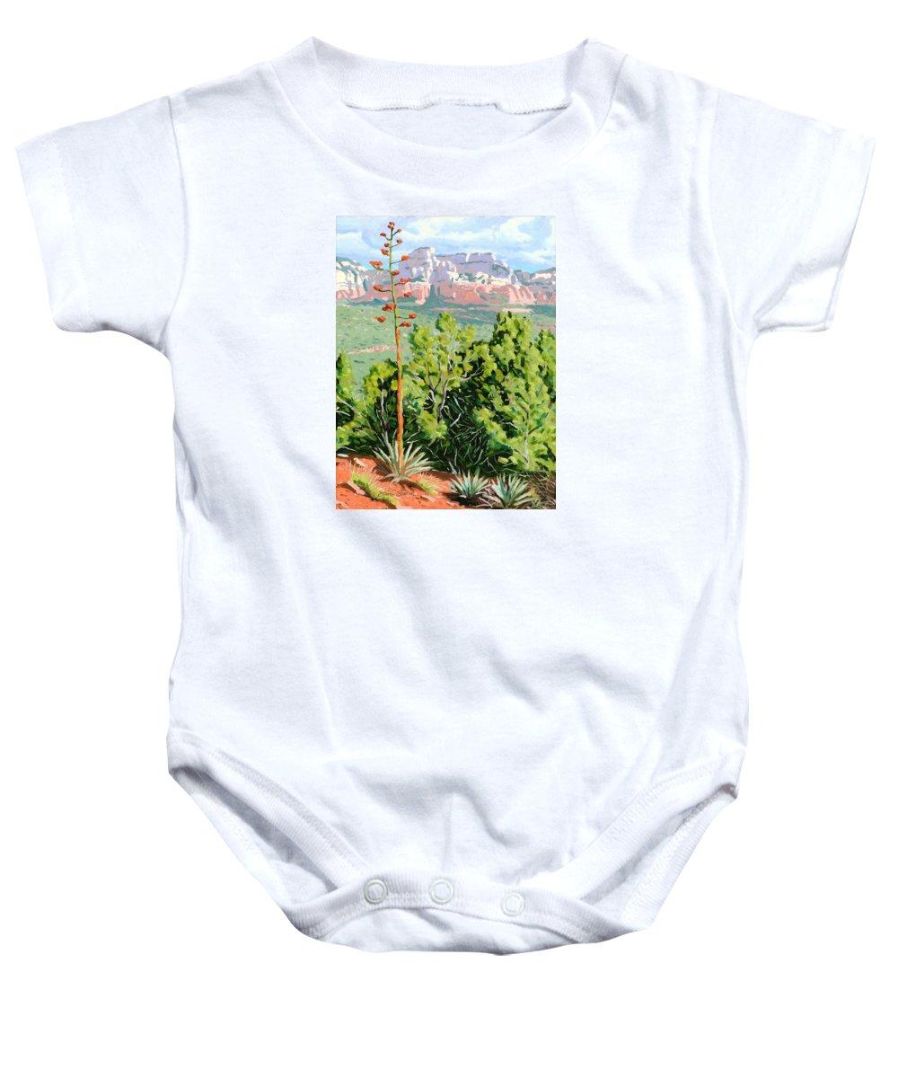Century Plant Baby Onesie featuring the painting Century Plant - Sedona by Steve Simon
