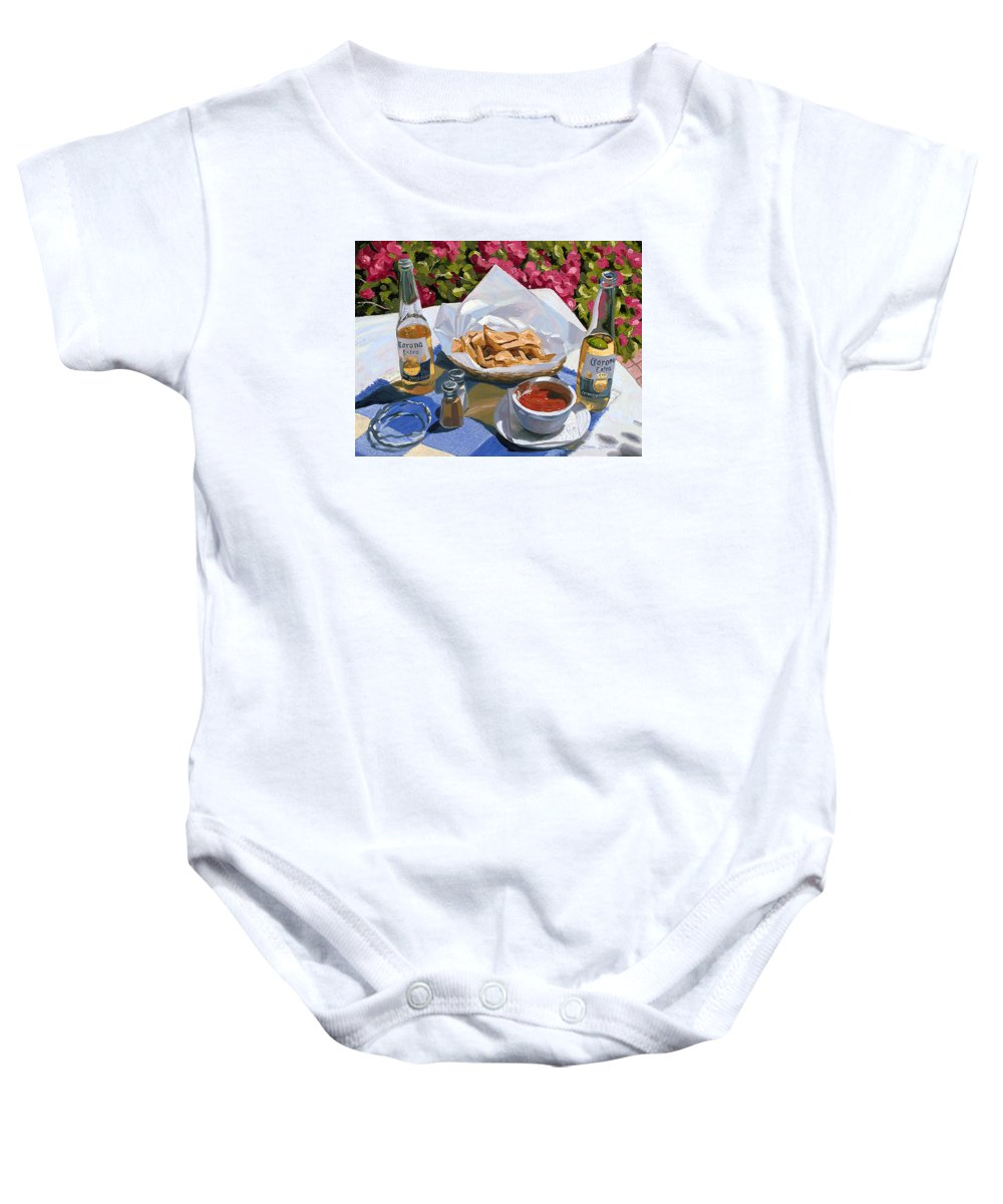 Beer Baby Onesie featuring the painting Cervezas Y Nachos - Coronas With Nachos by Steve Simon