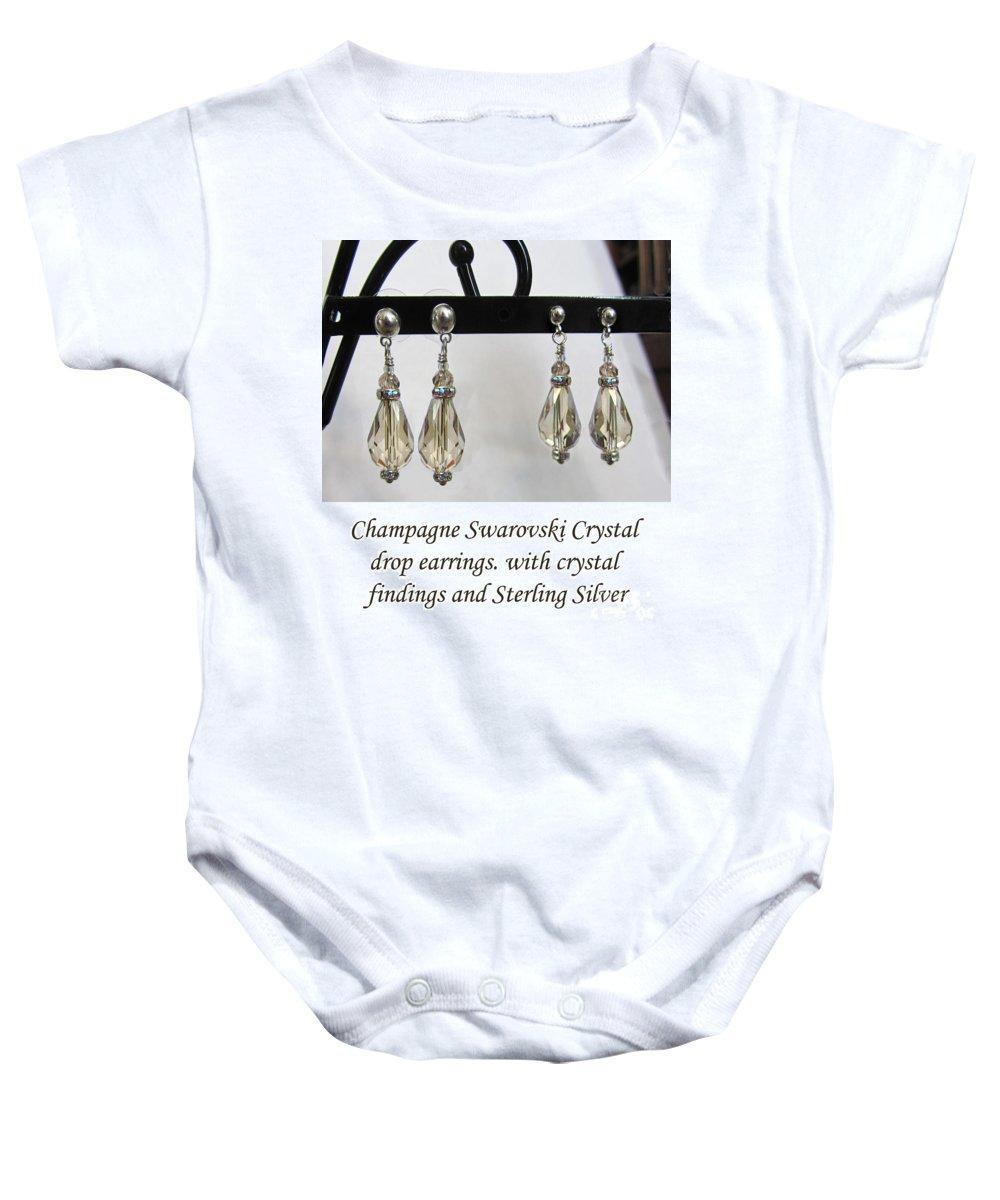 Earrings Baby Onesie featuring the jewelry Champagne Tear Drop by Jennie Breeze
