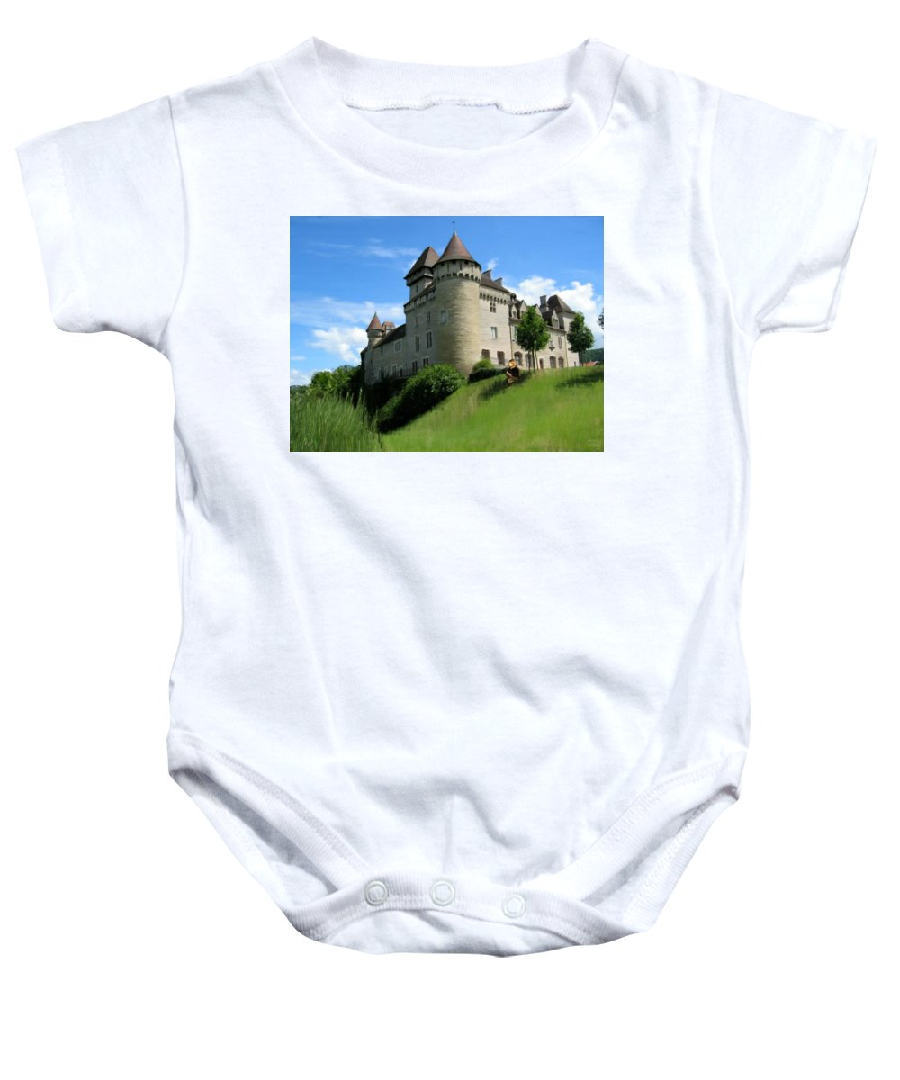 Castle Baby Onesie featuring the Chateau De Cleron Dans Le Doubs France by Bruce Nutting