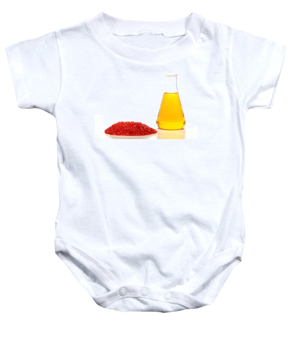 Chemical Baby Onesie featuring the photograph Chemical And Glass In Industrial Manufacturing by Science Research Lab By Olivier Le Queinec