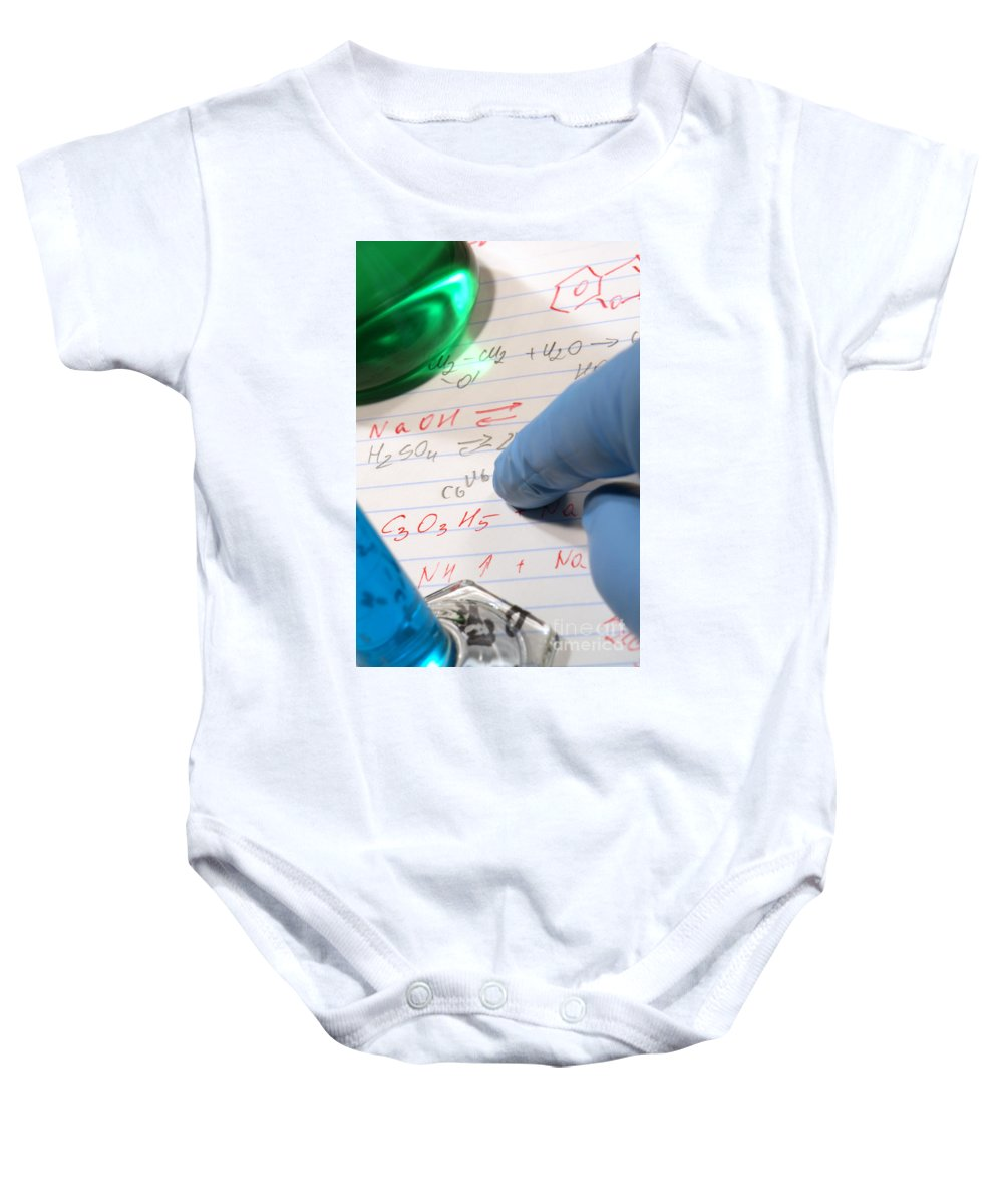 Formula Baby Onesie featuring the photograph Chemistry Formulas In Science Research Lab by Science Research Lab By Olivier Le Queinec