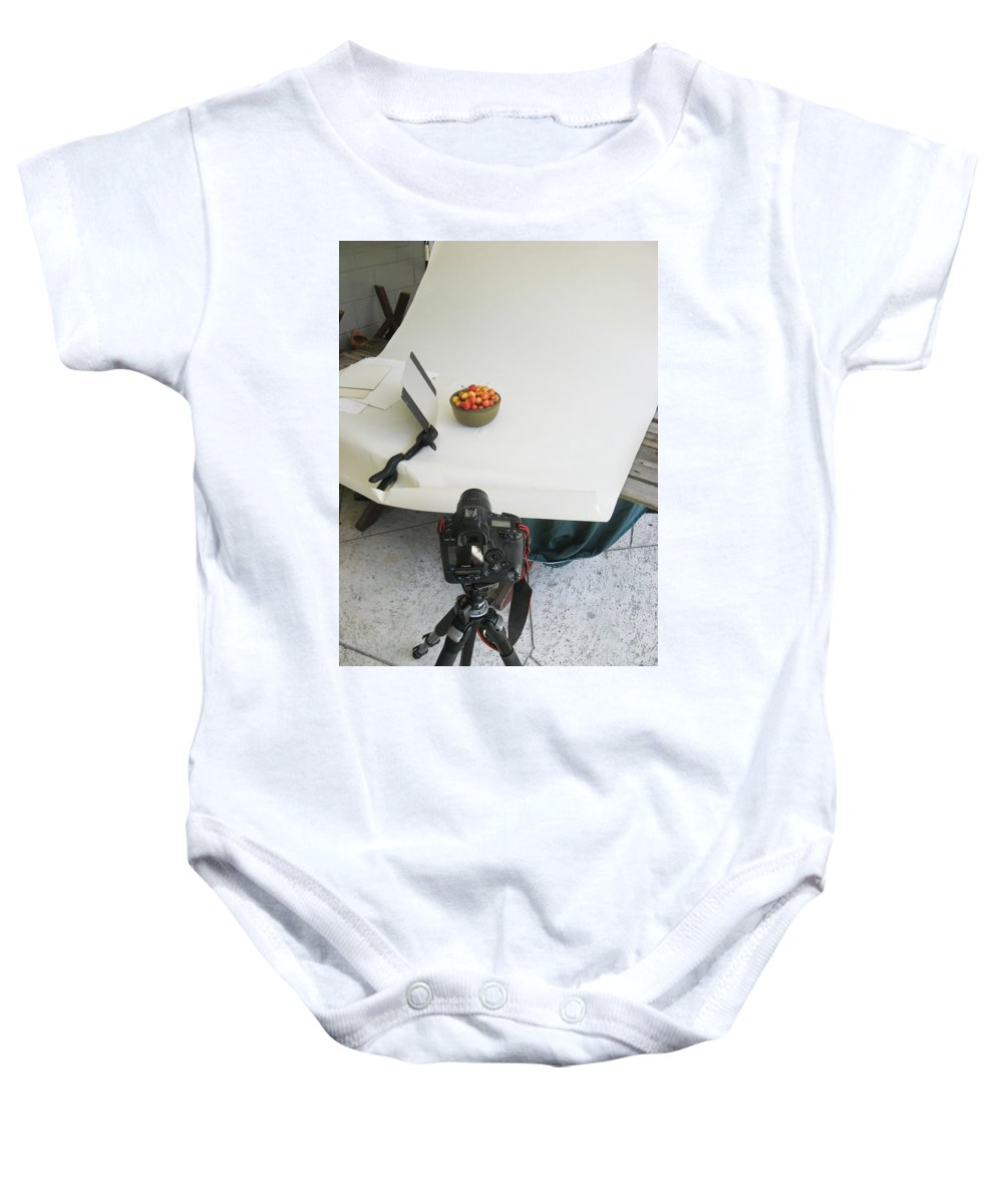 Cherries Baby Onesie featuring the photograph Cherries And Reflector by Rich Franco