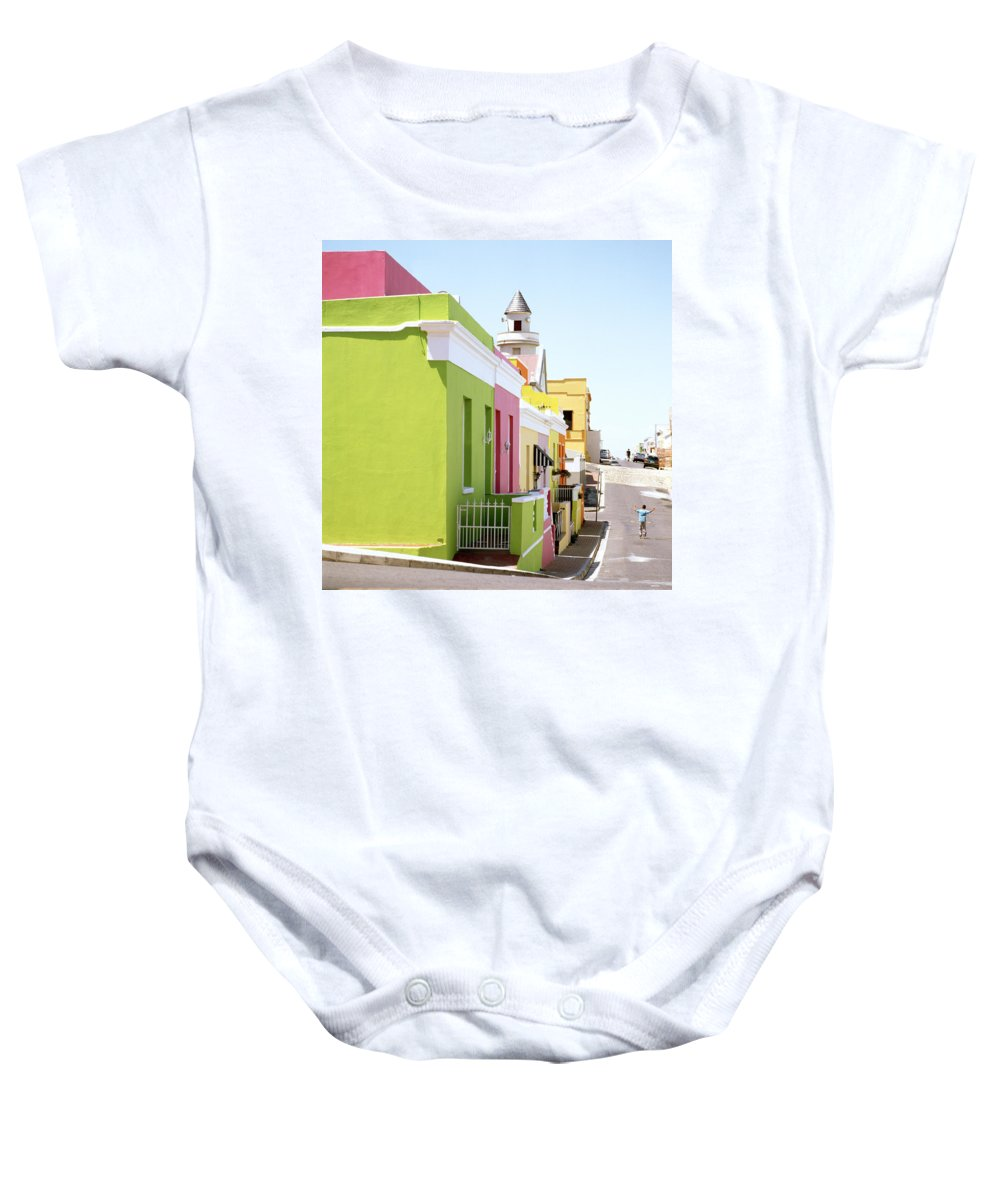 Bo Kaap Baby Onesie featuring the photograph Chiappini Street by Shaun Higson