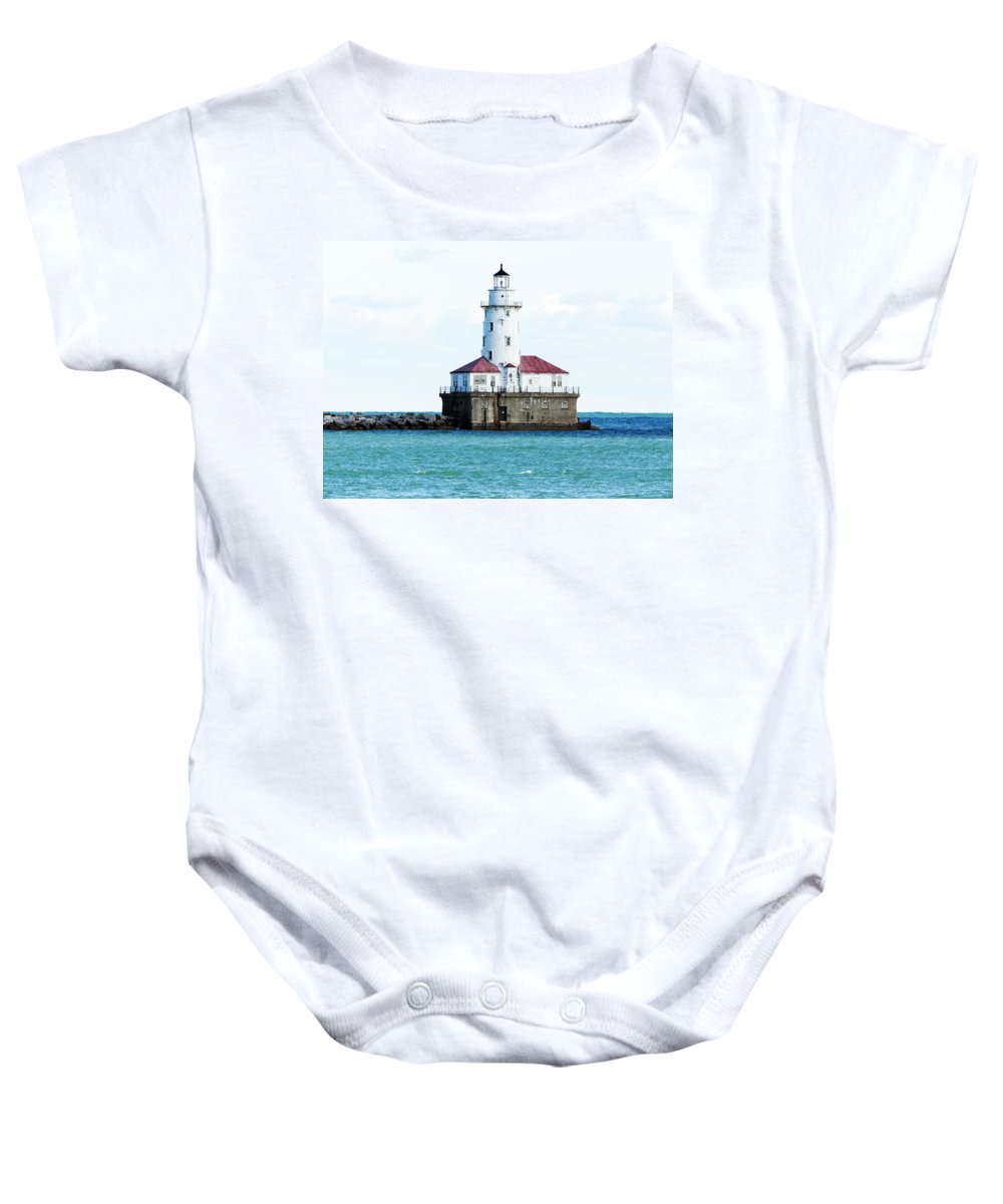 Horizontal Baby Onesie featuring the photograph Chicago Illinois Harbor Lighthouse Close Up Usa by Sally Rockefeller