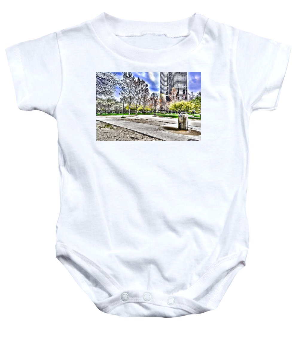 Chicago Baby Onesie featuring the photograph Chicago's Jane Addams Memorial Park From The Series The Imprint Of Man In Nature by Verana Stark