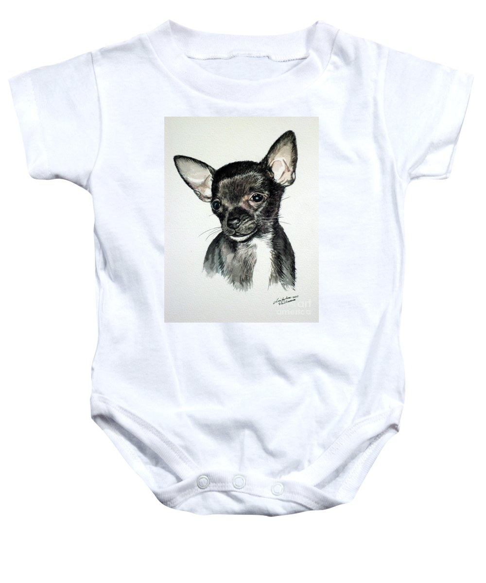 Dog Baby Onesie featuring the painting Chihuahua Black 2 by Christopher Shellhammer