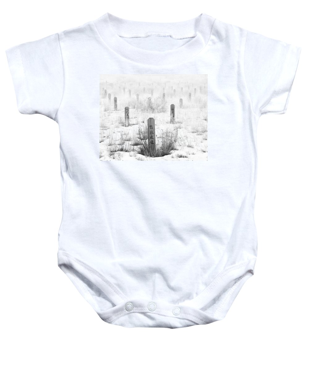 Canadian Pacific Railway Baby Onesie featuring the photograph Chinese Grave Markers by Theresa Tahara