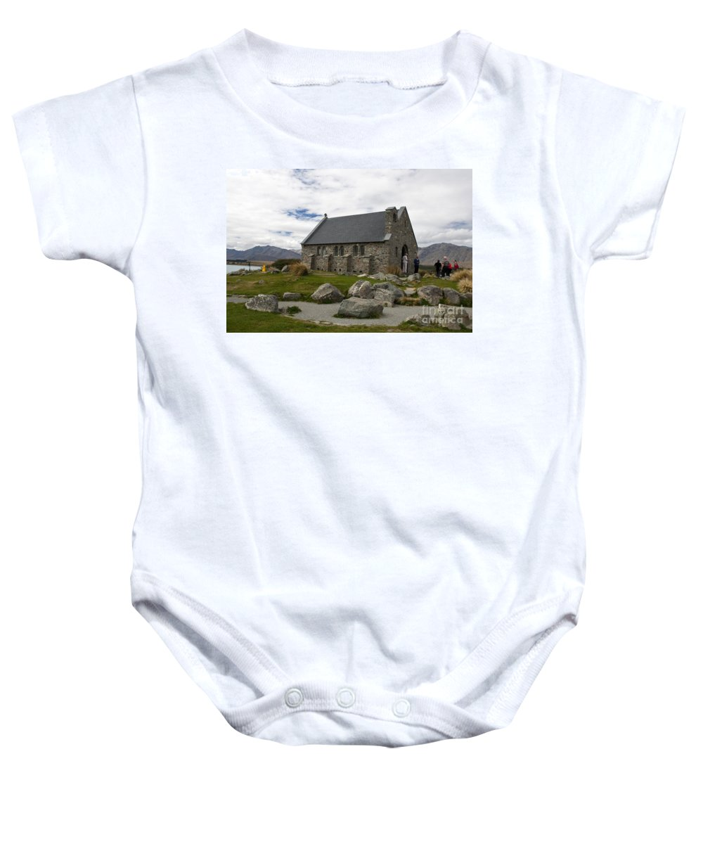 Church Of The Good Shepherd Baby Onesie featuring the photograph Church Of The Good Shepherd Lake Tekapo New Zealand by Jason O Watson