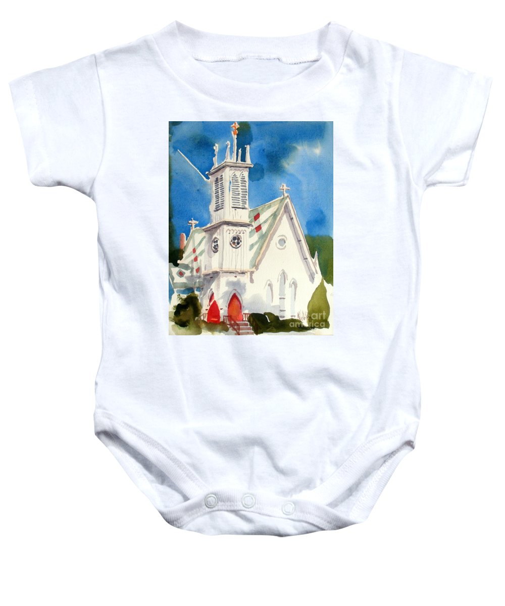 Church Baby Onesie featuring the painting Church With Jet Contrail by Kip DeVore