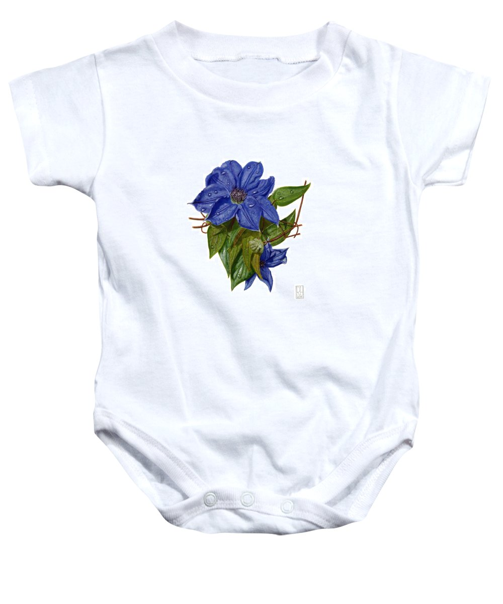 Clematis Baby Onesie featuring the painting Clematis by Richard Harpum