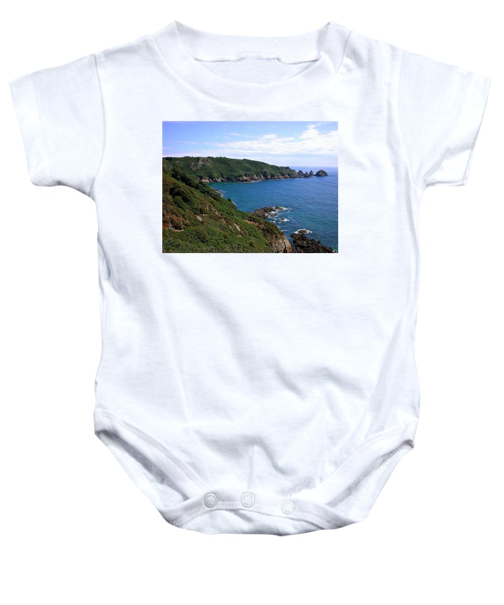 Guernsey Baby Onesie featuring the photograph Cliffs On Isle Of Guernsey by Bellesouth Studio