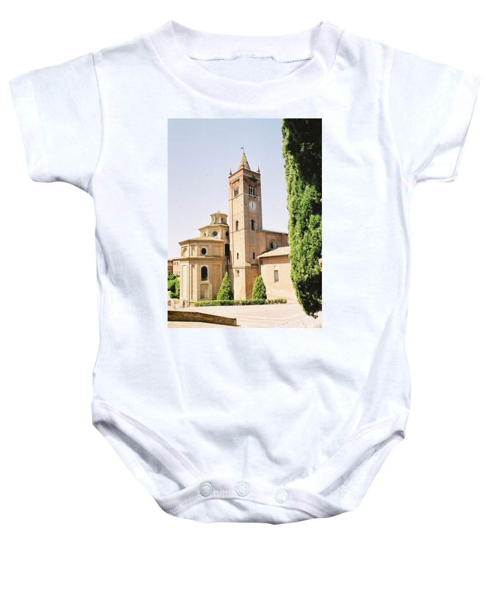 Cloister Baby Onesie featuring the photograph Cloister Monte Oliveto Maggiore by Christiane Schulze Art And Photography