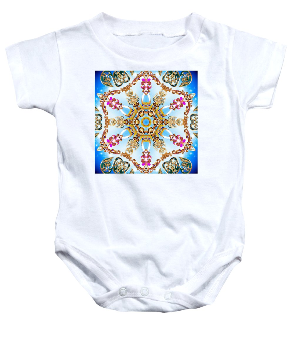 Sacredlife Mandalas Baby Onesie featuring the digital art Cloud Walker by Derek Gedney