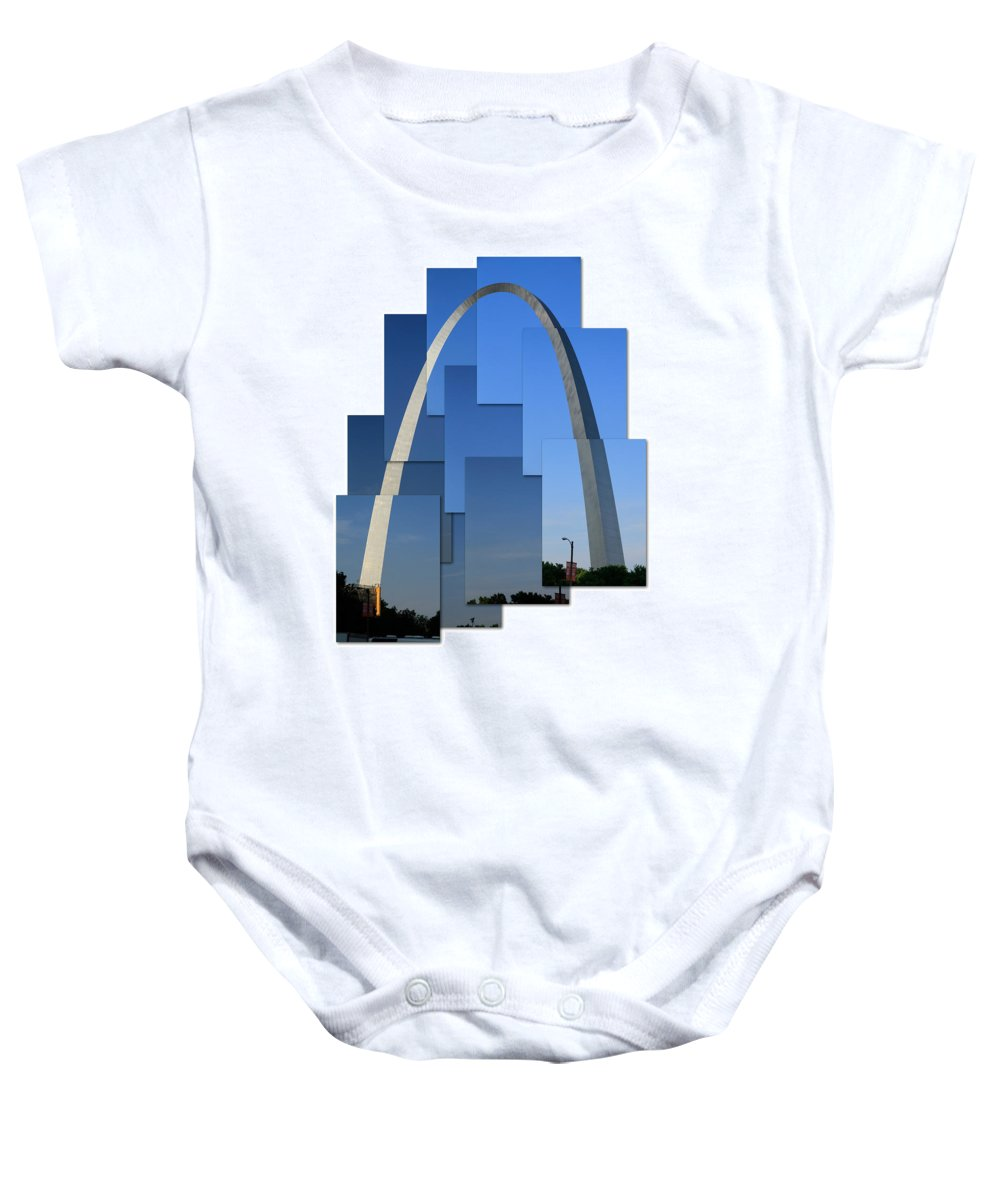 St Louis Arch Baby Onesie featuring the photograph Collage Of St Louis Arch by Garry McMichael