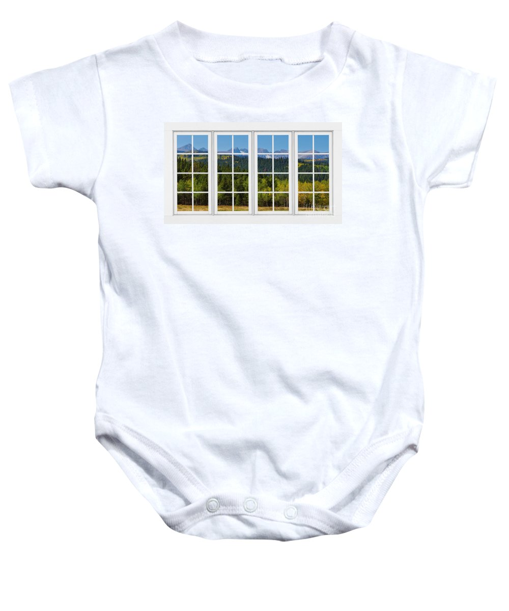 Windows Baby Onesie featuring the photograph Colorado Rocky Mountains White Window Frame View by James BO Insogna
