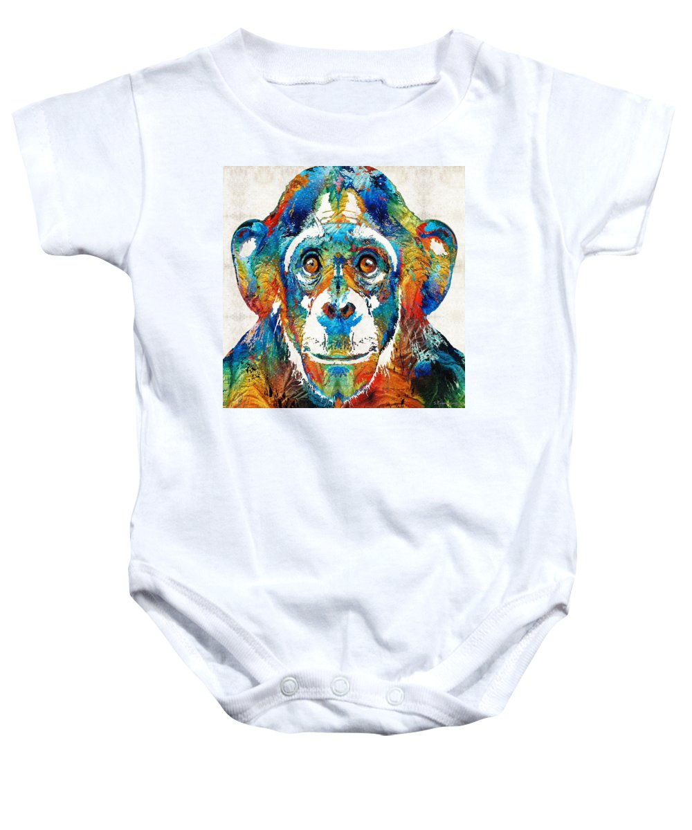 Monkey Baby Onesie featuring the painting Colorful Chimp Art - Monkey Business - By Sharon Cummings by Sharon Cummings