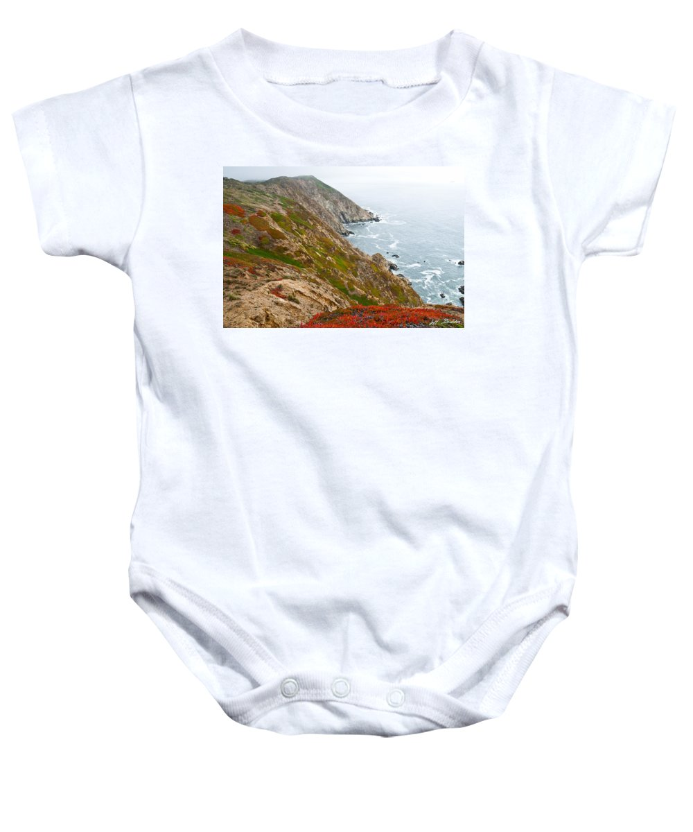 Beauty In Nature Baby Onesie featuring the photograph Colorful Cliffs At Point Reyes by Jeff Goulden