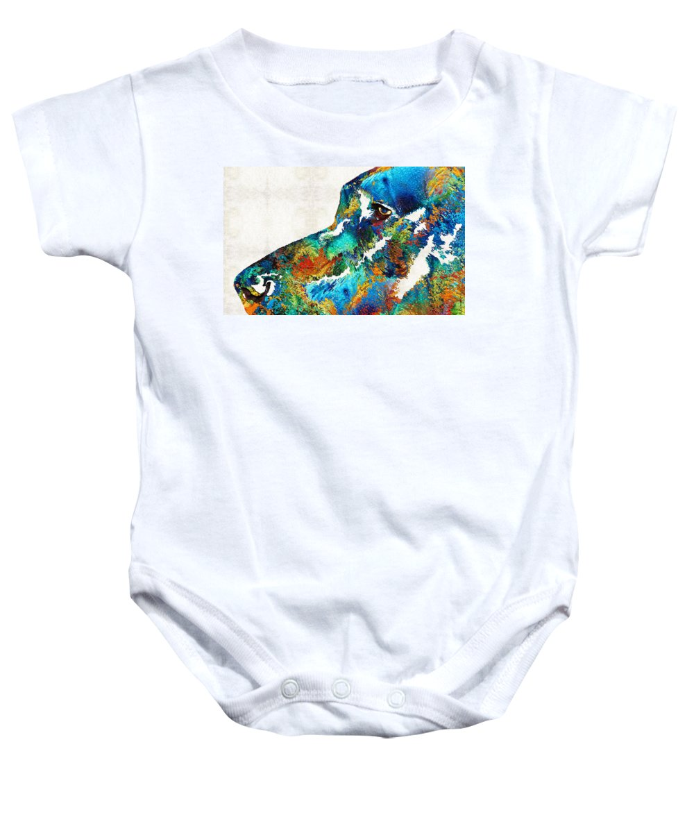 Dog Baby Onesie featuring the painting Colorful Dog Art - Loving Eyes - By Sharon Cummings by Sharon Cummings