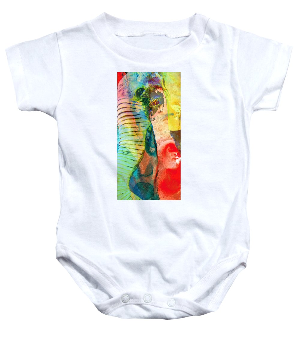 Elephant Baby Onesie featuring the painting Colorful Elephant Art By Sharon Cummings by Sharon Cummings