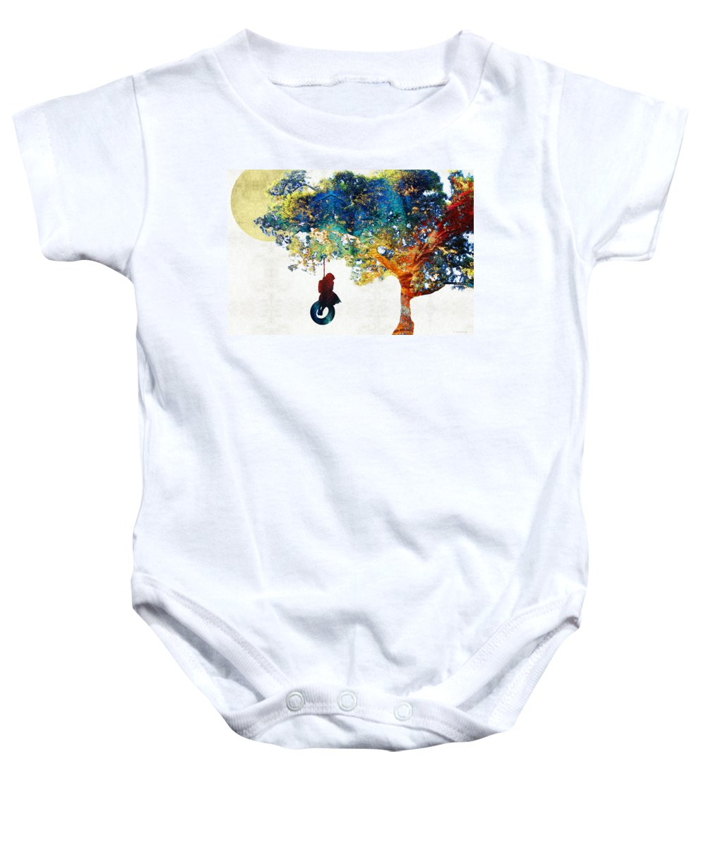Tree Baby Onesie featuring the painting Colorful Landscape Art - The Dreaming Tree - By Sharon Cummings by Sharon Cummings
