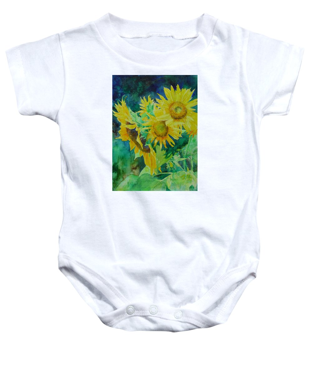 Sunflowers Baby Onesie featuring the painting Colorful Original Sunflowers Flower Garden Art Artist K. Joann Russell by K Joann Russell