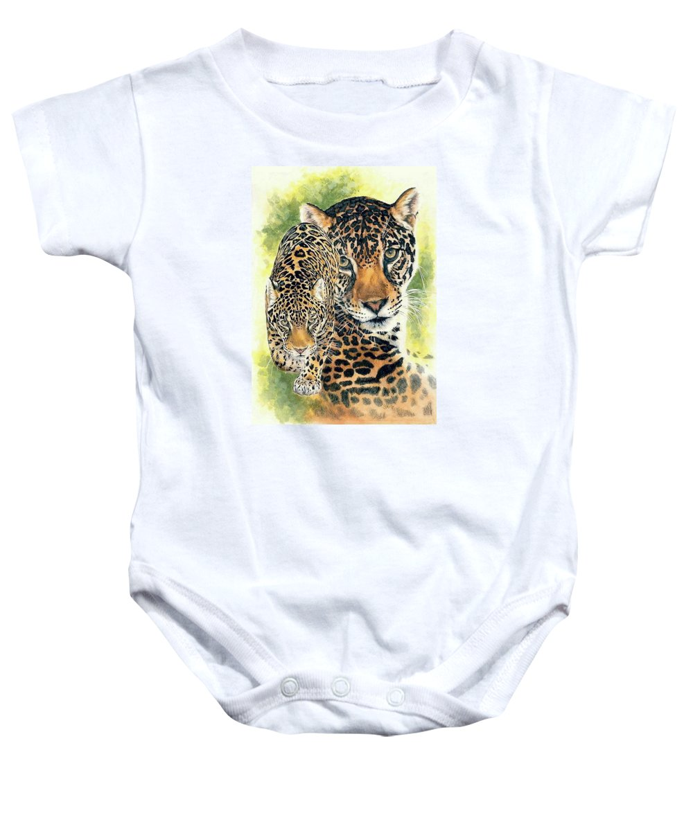 Jaguar Baby Onesie featuring the mixed media Compelling by Barbara Keith
