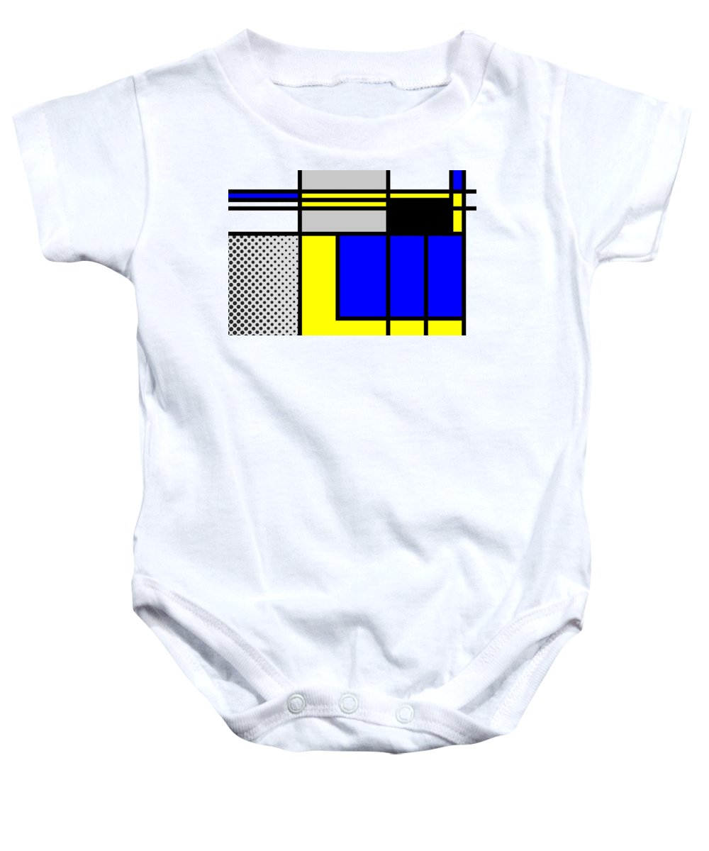 Mondrian Baby Onesie featuring the mixed media Composition 101 by Dominic Piperata