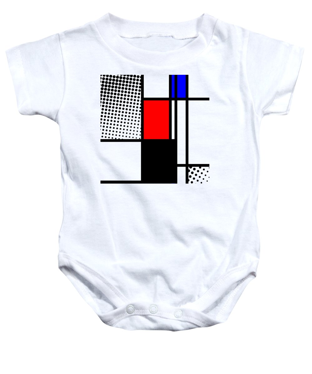 Mondrian Baby Onesie featuring the mixed media Composition 105 by Dominic Piperata
