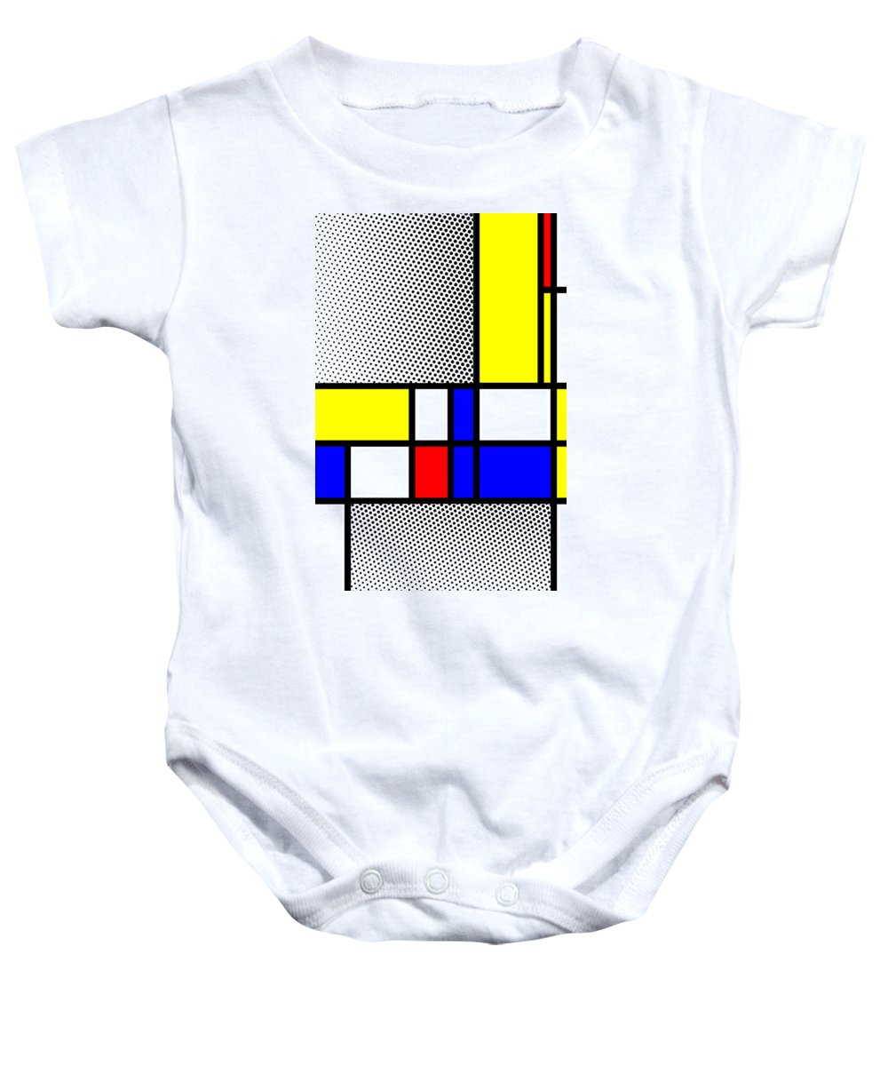 Mondrian Baby Onesie featuring the mixed media Composition 111 by Dominic Piperata