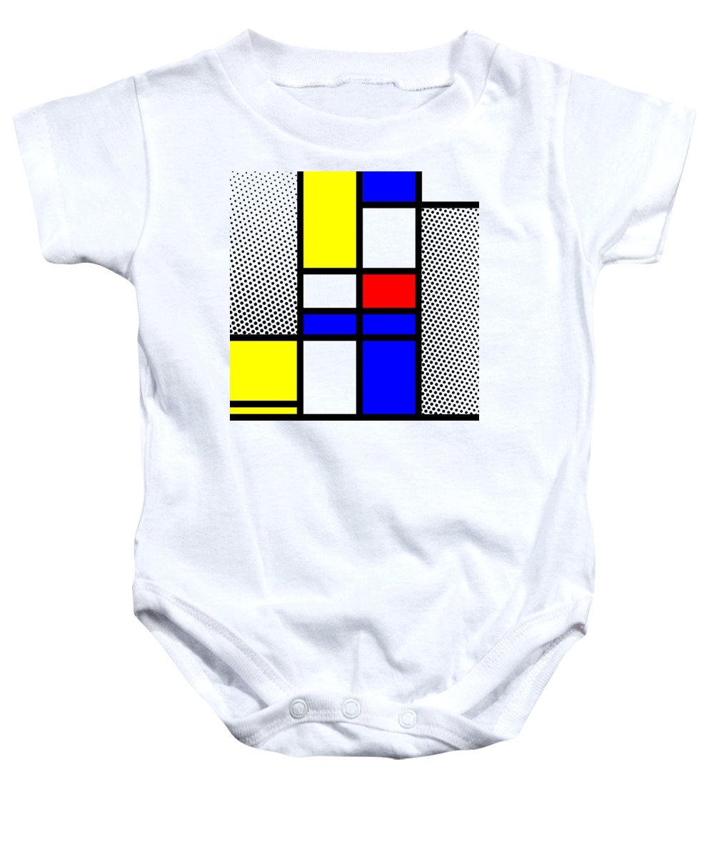 Mondrian Baby Onesie featuring the mixed media Composition 112 by Dominic Piperata