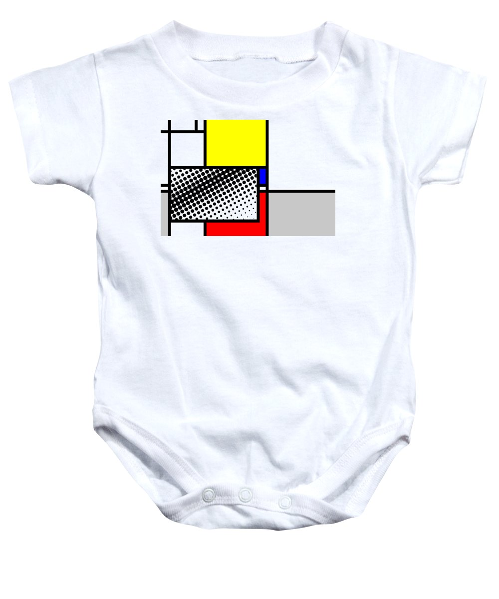 Mondrian Baby Onesie featuring the mixed media Composition 115 by Dominic Piperata