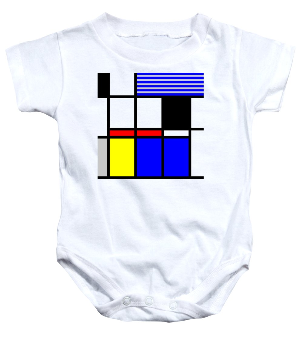 Mondrian Baby Onesie featuring the mixed media Composition 117 by Dominic Piperata