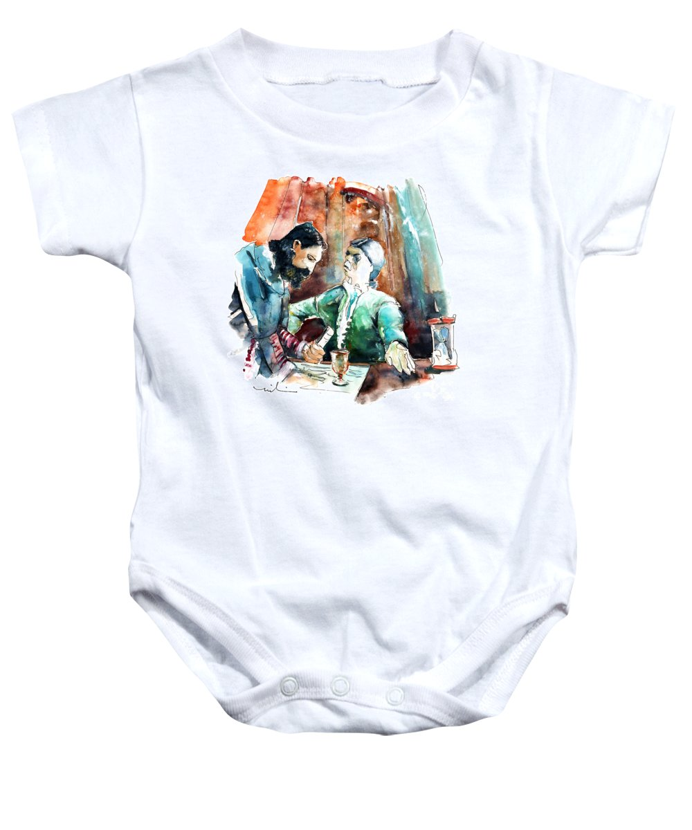 Portugal Baby Onesie featuring the painting Conquistadores On The Boat In Vila Do Conde In Portugal by Miki De Goodaboom