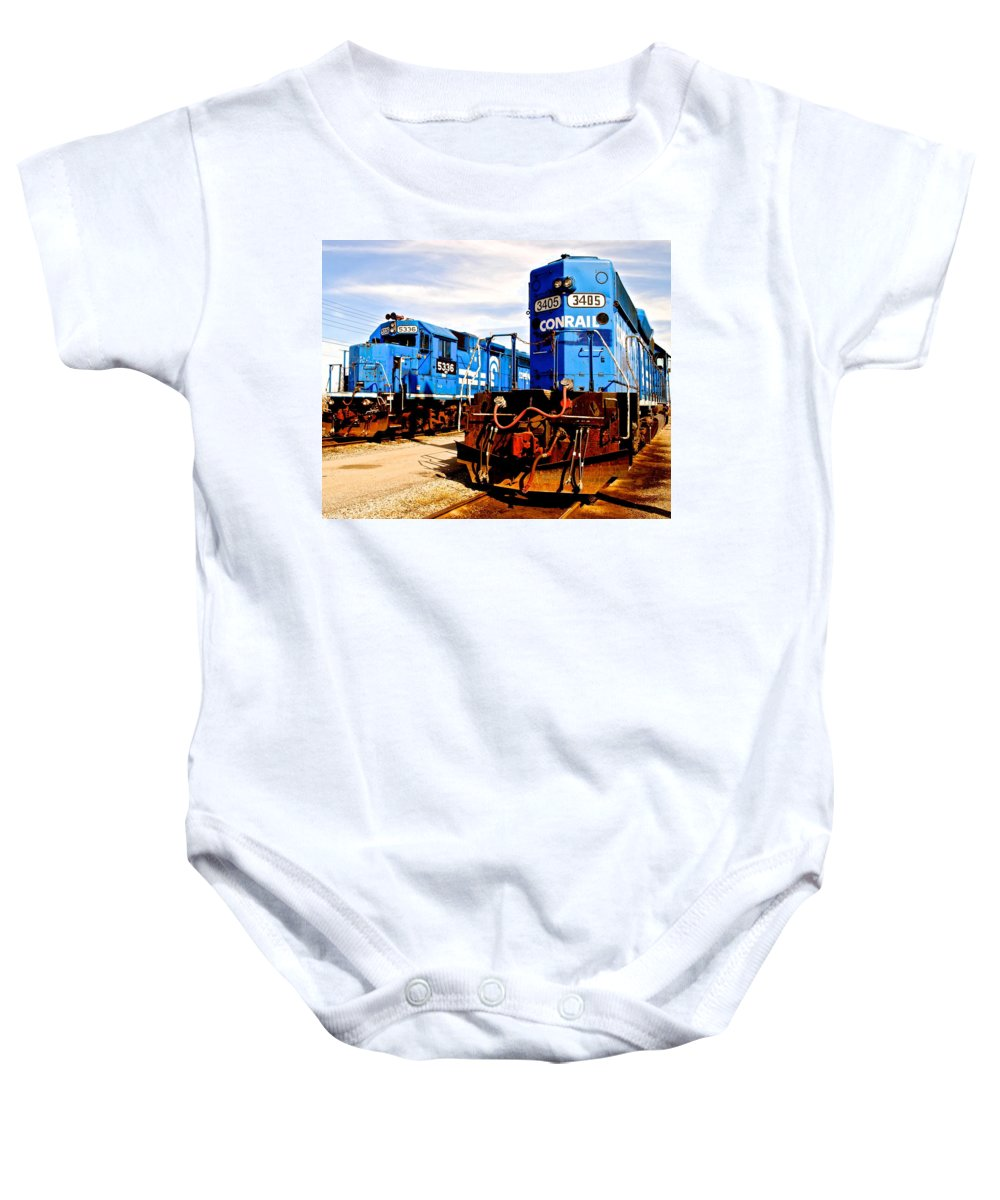 Conrail Baby Onesie featuring the photograph Conrail Choo Choo by Frozen in Time Fine Art Photography
