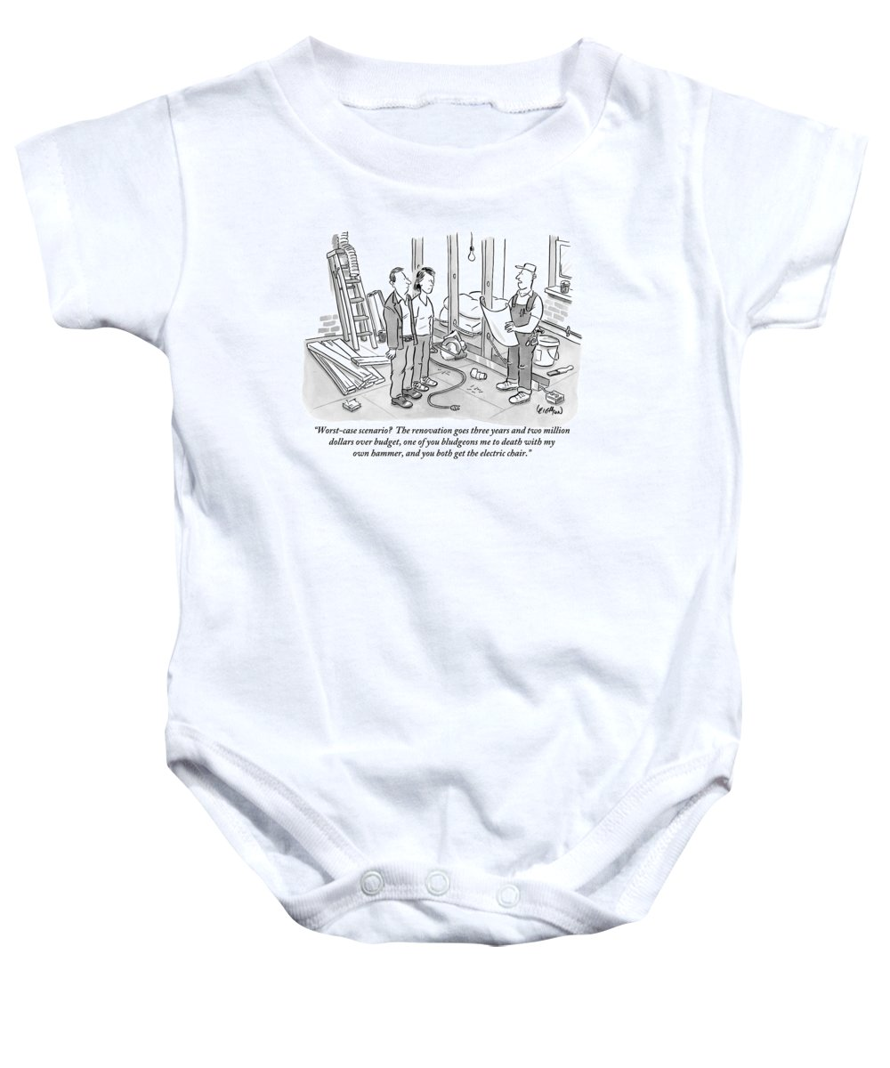 Renovation Baby Onesie featuring the drawing Contractor Examining A Blueprint And Speaking by Robert Leighton