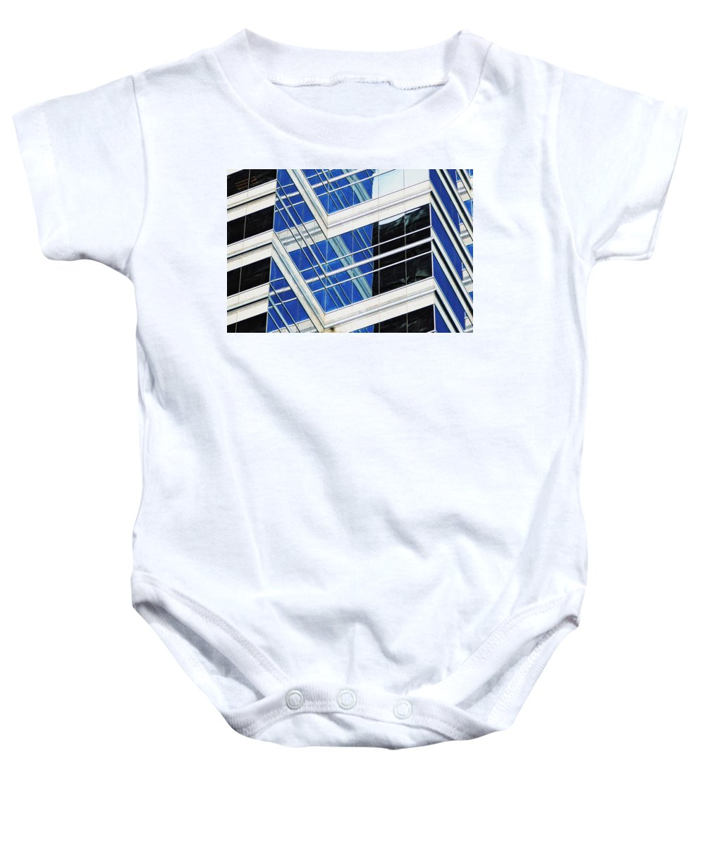 Skyscrapers Baby Onesie featuring the photograph Contrasting Elements by Ira Shander