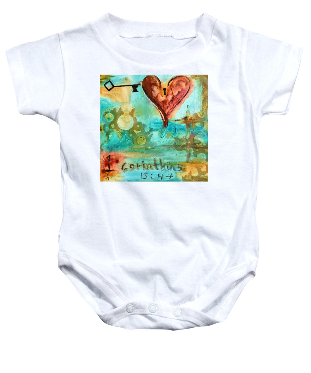 Heart Baby Onesie featuring the painting 1 Corinthians 13 by Ivan Guaderrama