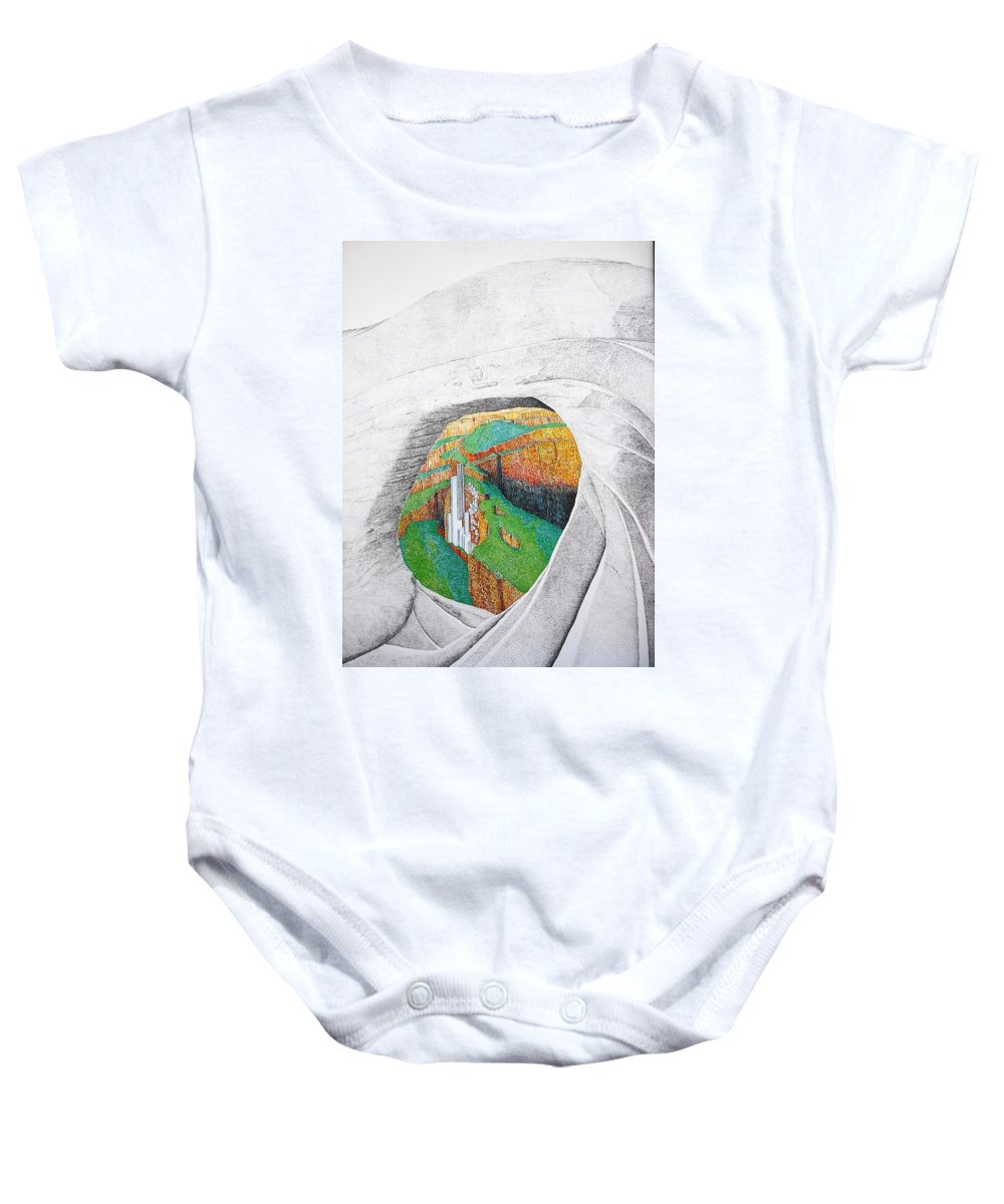 Rocks Baby Onesie featuring the painting Cornered Stones by A Robert Malcom