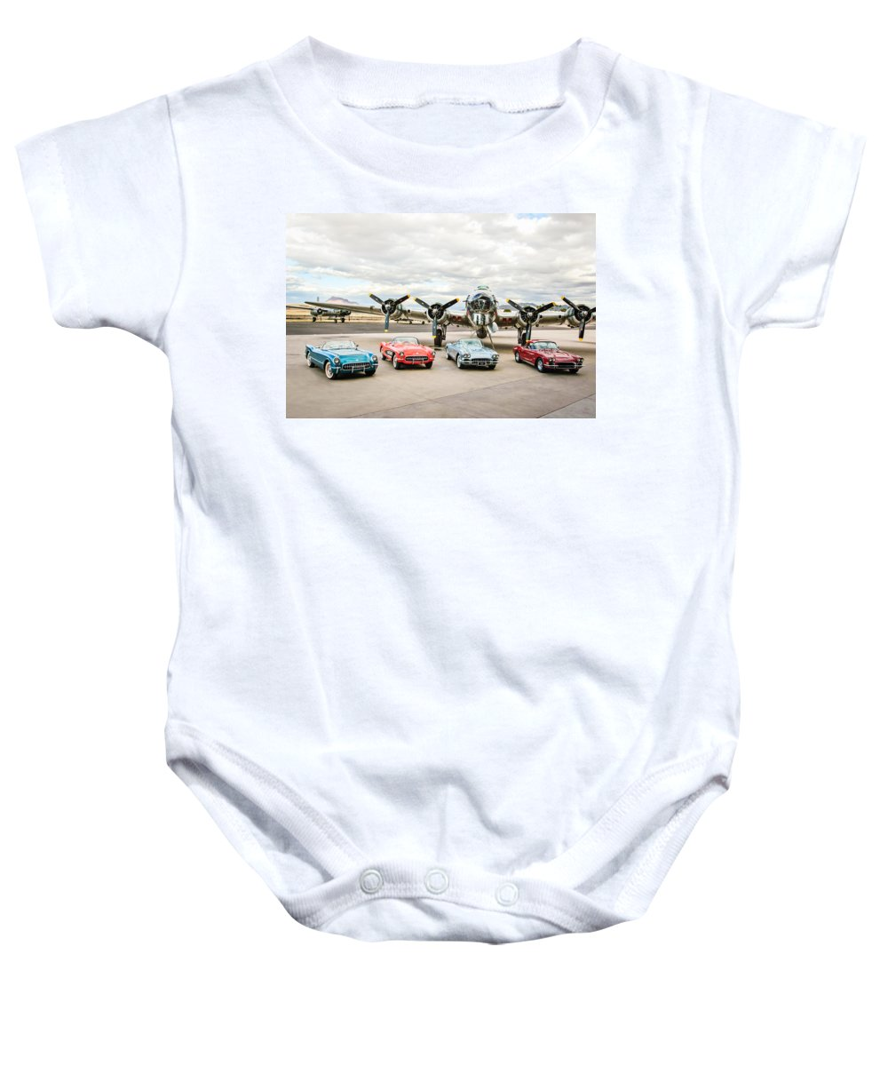 Corvettes With B17 Bomber Baby Onesie featuring the photograph Corvettes And B17 Bomber by Jill Reger