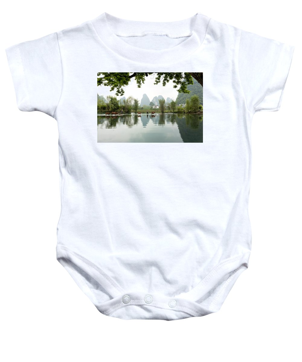 Limestone Baby Onesie featuring the photograph Country Side In Southern China by King Wu
