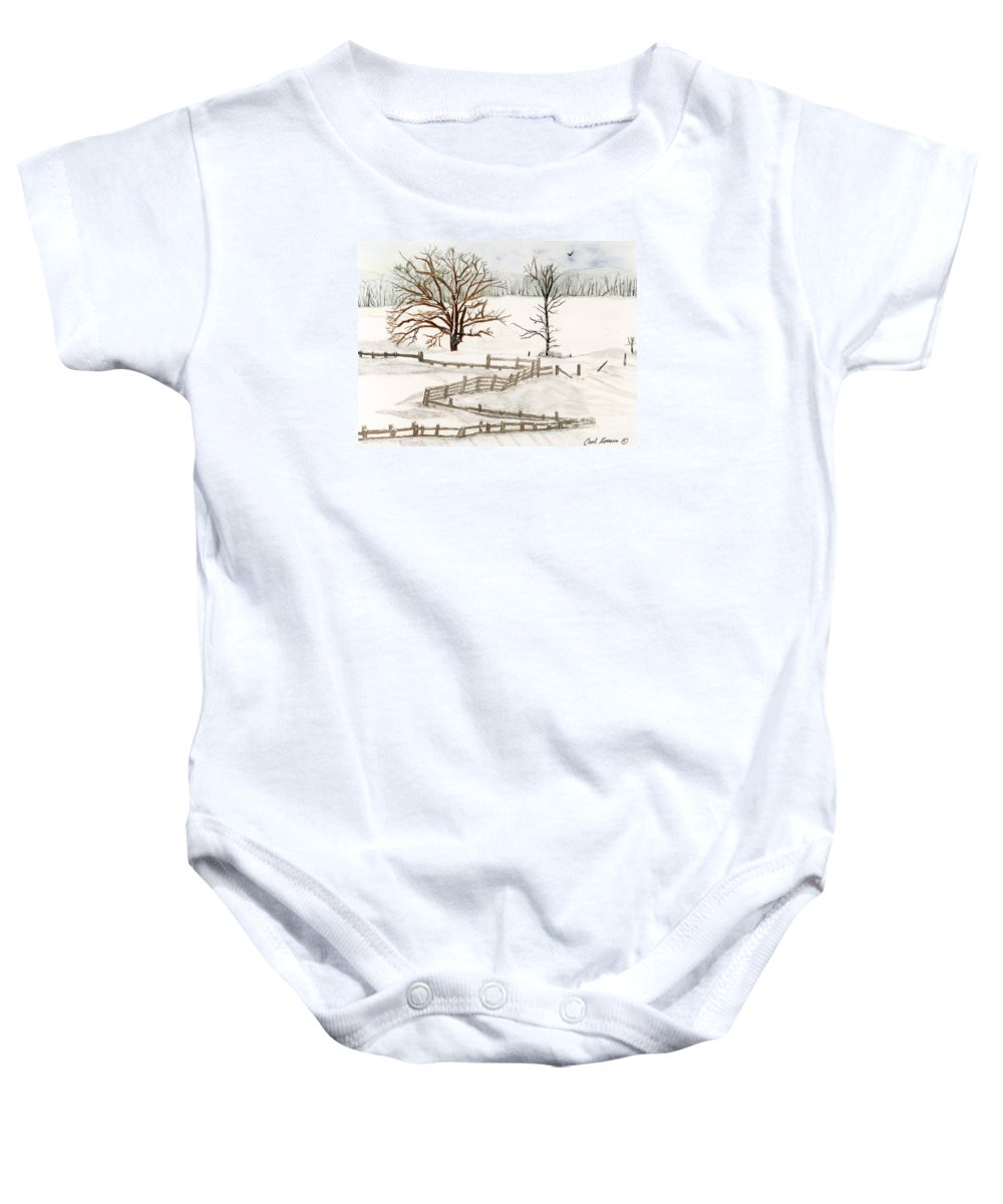 Country Baby Onesie featuring the painting Country Snow Scene Ozaukee County Wisconsin by Carol Komassa