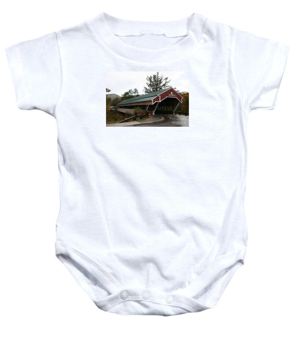 Covered Bridge Baby Onesie featuring the photograph Covered Bridge Jackson by Christiane Schulze Art And Photography