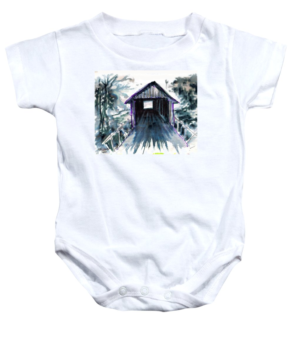Old South Baby Onesie featuring the digital art Covered Bridge by Seth Weaver