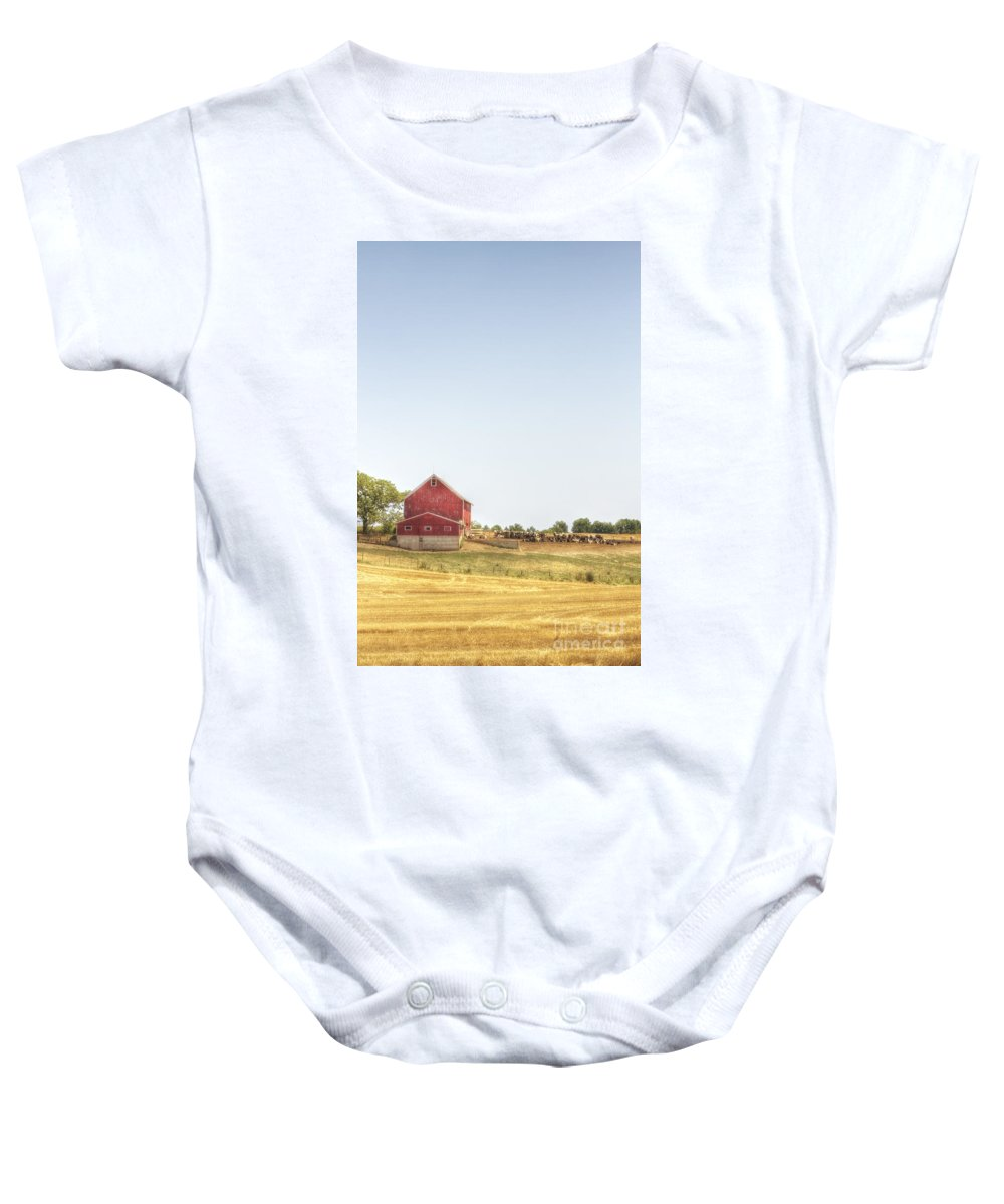 Field; Pasture; Farm; Grasses; Wheat; Plowed; Red; Barn; Farm; Outside; Outdoors; Day; Nature; Sky; Rural; Land; Lines; Red; Peeling; Wood; Worn; Weathered; Old; Vintage; Cows; Animals; Dairy; Meat Baby Onesie featuring the photograph Cow Pasture by Margie Hurwich