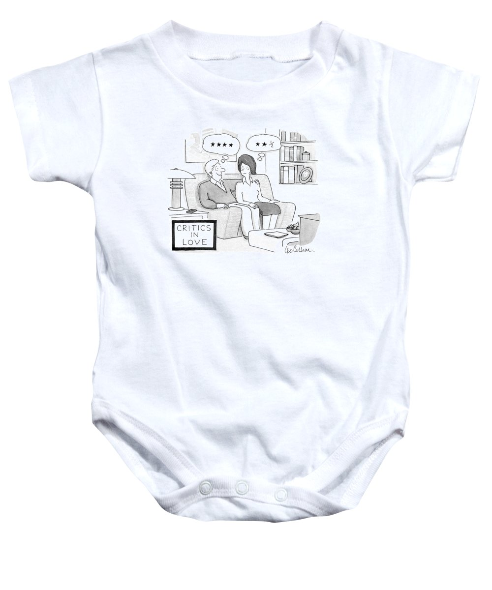 Vanity Baby Onesie featuring the drawing Critics In Love by Leo Cullum