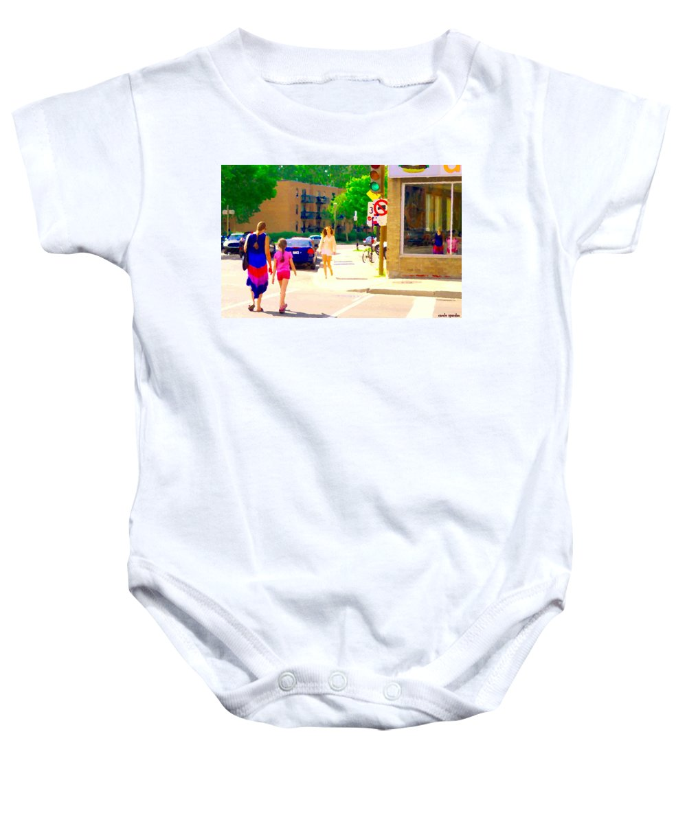 Dilallo Baby Onesie featuring the painting Crossing Notre Dame At Charlevoix To Dilallo Burger Montreal Summer City Scene Carole Spandau by Carole Spandau
